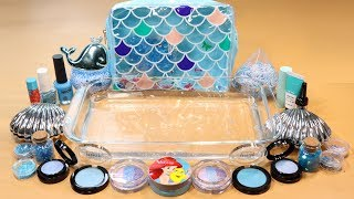 Mixing MerMaid Makeup,clay,slime,glitter... Into Clear Slime! MerMaidslime