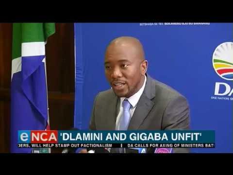 Dlamini and Gigaba unfit DA