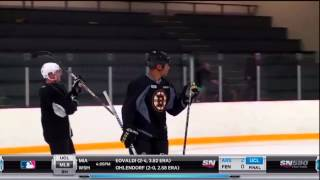 Jarome Iginla takes part in his first practice with the Boston Bruins