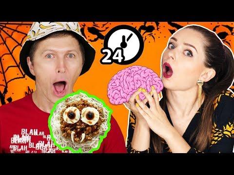 24 часа едим только Хэллоуинскую еду! Челлендж 🐞 Эльфинка