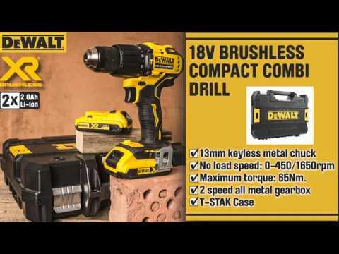 DeWalt DCD709D2T 18V XR Brushless Compact Combi Drill Driver