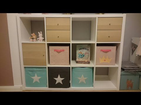 Kallax Regal Tür Schubladen Box Idee Beispiel Aufbau Kinderzimmer Ikea 4x3 einbauen aufbauen