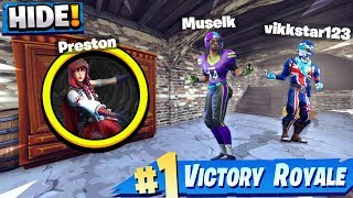 THE GOD HIDING SPOT! *NEW* FORTNITE MANSION HIDE & SEEK! (with Vikkstar, Alex & Muselk)