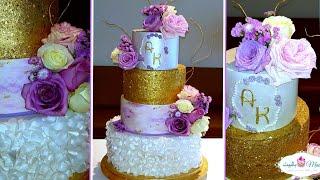 كيكة الخرز الذهبي للأعراس Gold Sequin Wedding Cake Tutorial
