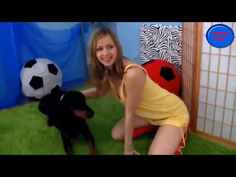 Pretty Girl Play With Dog_Funny Dog and cute girl
