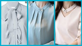 Gorgeous Evening Chiffon Blouses And Top Styles And Neck Designs.