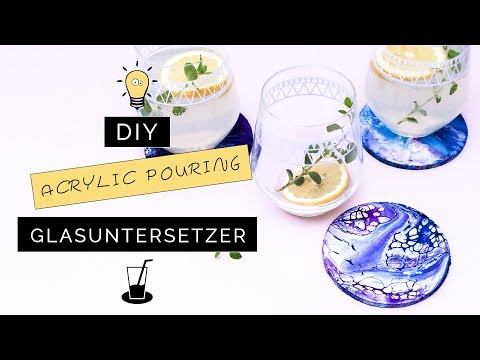 Acrylic Pouring: DIY Glasuntersetzer mit abstrakter Malerei | Deko mit Acryl Fließtechnik