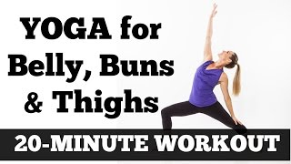 20-Minute Belly, Buns and Thighs Yoga Workout | Full Length At Home Yoga Exercise Video