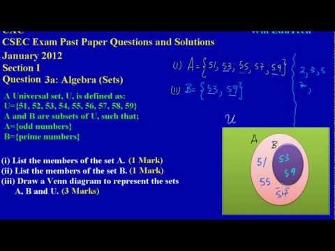 CSEC CXC Maths Past Paper 2 Question 3a Jan 2012 Exam ...