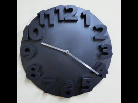 Reloj economico de pared de cocina, salon, dormitorio negro y números 3D. Ref. 25106