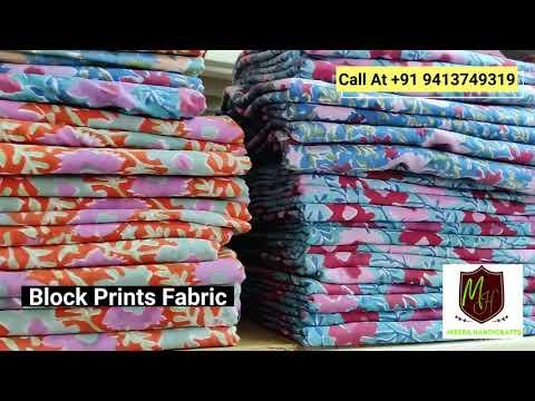 Flower Hand Block Printed Cotton Fabric Sanganeri Print