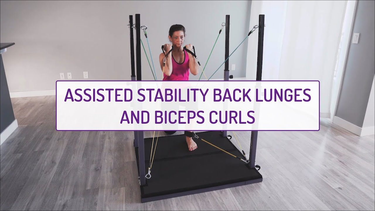 Assisted Stability Back Lunges and Biceps Curls