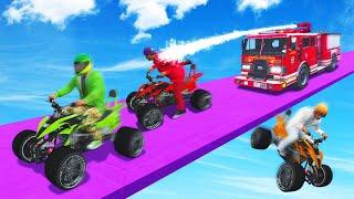 FIRE FIGHTERS vs. QUAD BIKERS! (GTA 5 Funny Moments)