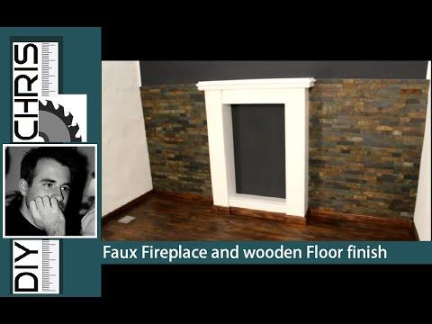 Fake Fireplace and wooden Floor finish (Deko-Kamin bauen)