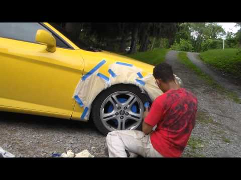 How To Spray/Tint Your Car Rims in 3 Easy Steps in 5 Minutes! | Hyundai Tiburon GT