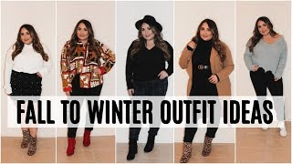 FALL TO WINTER PLUS SIZE OUTFIT IDEAS   HOW TO DRESS AND APPLE SHAPE BODY