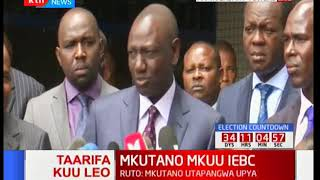 Willian Ruto addresses the media after arrival at the IEBC planned meeting