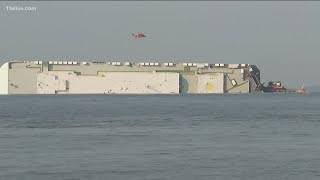 Cargo ship overturned due to unstable load
