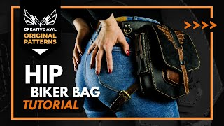 How To Make Leather Biker Bag With PDF PATTERN. Making A Leather Hip Bag