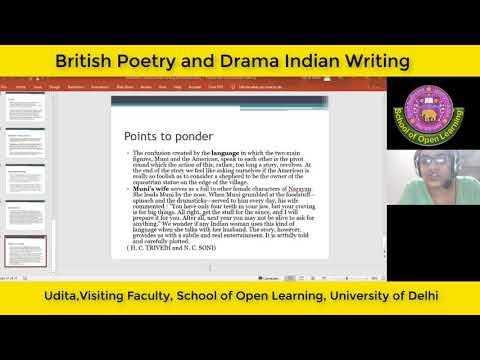 BRITISH POETRY AND DRAMA, INDIAN WRITING By - UDITA