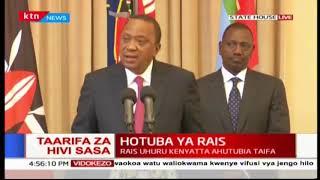 President Uhuru Kenyatta reacts to the Supreme Court final verdict