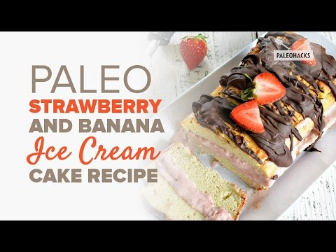 Video Strawberry and Banana Ice Cream Cake   Paleo Recipe