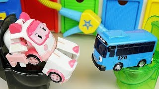 Robocar Poli Car Toys Tayo Bus Toliet And Gas Station Play