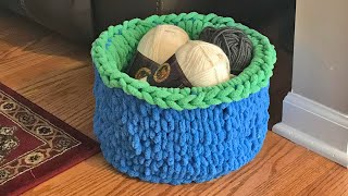 Finger Knit Basket - Knit Without Needles!