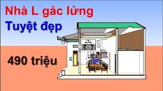 Mẫu nhà L gác lửng đẹp - Nhà đẹp 3D