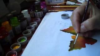 Pintura da folha da uva e peras