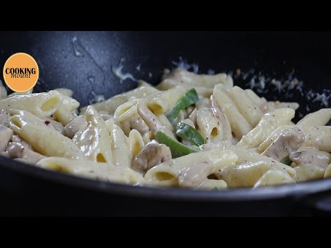 Indian style chicken pasta with white sauce Recipe By Cooking Mount