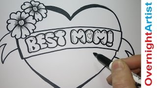 Draw Best Mom - How To Draw Best Mom -Graffiti Bubble letters - Mothers Day, Birthday,