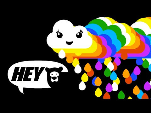 Hey Bear Baby Sensory - Rainbow  - fun video with music and high contrast animation - Baby Sensory