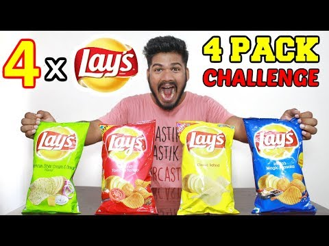 4 PACK LAYS EATING CHALLENGE   POTATO CHIPS EATING CHALLENGE   Food Challenge India (Episode-44)