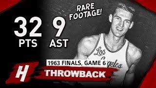 SUPER RARE! Jerry West Game 6 Highlights vs Celtics (1963 NBA Finals) - 32 Pts, 7 Reb, 9 Assists!