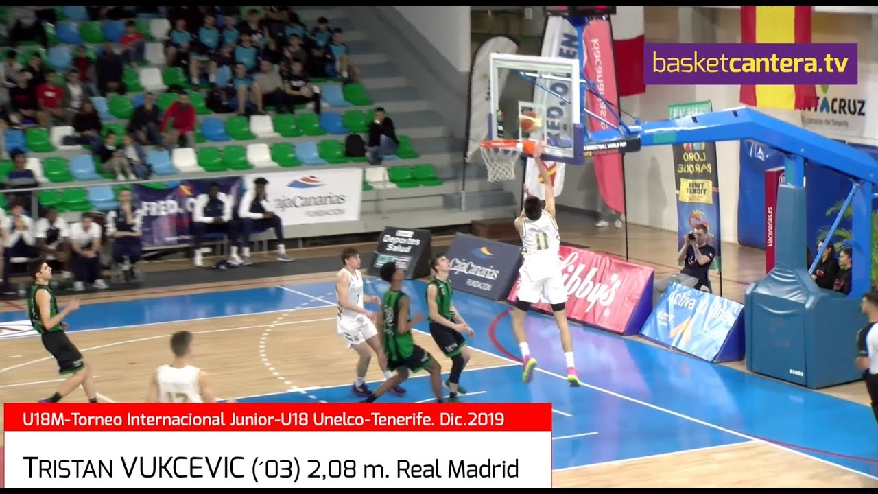 TRISTAN VUKCEVIC (´03) Real Madrid 2,08 m. Torneo Unelco-Tenerife (BasketCantera.TV)