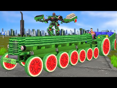 , title : 'विशाल जादुई तरबूज 8 पहिया ट्रैक्टर Giant Magical Watermelon 8 Wheel Tractor Hindi Kahaniya Comedy