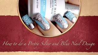 How To Do A Pretty Silver And Blue Nail Design