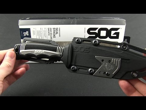 "SOG Seal Strike Fixed Blade + Deluxe Sheath (4.875"" TiNi Black Serr) SS1003"