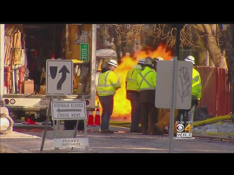 Ruptured Gas Main Fire Burns Into Second Day In Roslindale