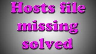 How to get missing hosts file (any windows version)
