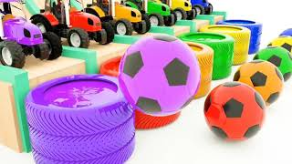 Colors for Children to Learn with Toy Street Vehicles with Color Garage Mack Truck Cars for Kids