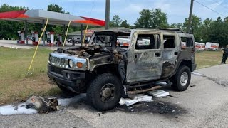 Vehicles catch fire as people panic buy gas and hoard containers in their cars following pipeline