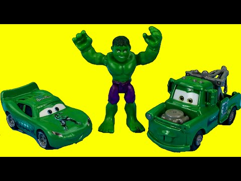 Disney Pixar Cars Hulk Mater & Hulk Car McQueen Save The Incredible Hulk From Mr. Freeze