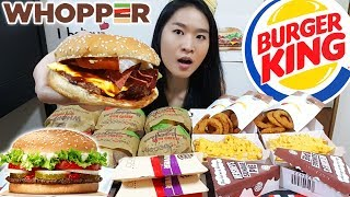 BURGER KING FEAST! Whoppers, Angus Beef Burgers, Onion Rings, Hershey's Pies | Mukbang Eating Show