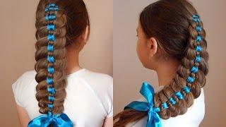 Коса с тремя лентами. Причёска в школу. Видео-урок