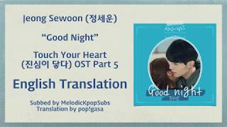 Jeong Sewoon (정세운) - Good Night (Touch Your Heart OST Part 5) [English Subs]