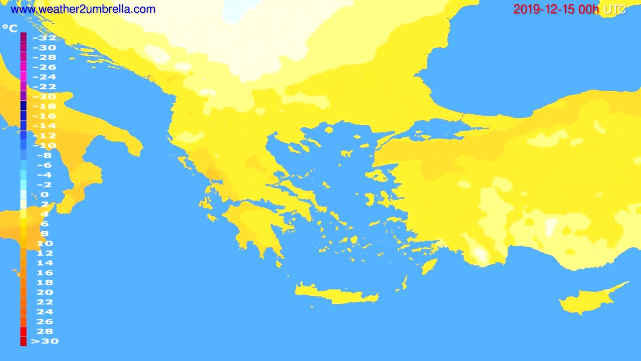 Temperature forecast Greece // modelrun: 00h UTC 2019-12-14