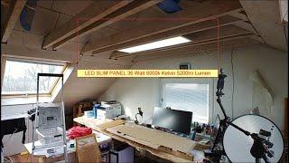 LED Panel 120x30 SLIM 40W Deckenleuchte als Daylight Licht im Büro. 5200LM Lumen 6000 Klevin Blanco