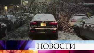 В Нью-Йорке снегопад парализовал работу транспорта, в Испании не прекращаются проливные дожди